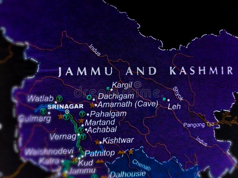 delstaten Hjammu och Kashmir i india belägen i en geografisk karta royaltyfri bild