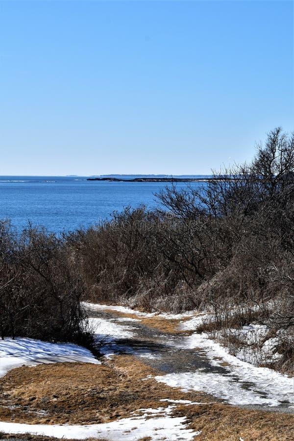 Delstatspark f?r tv? ljus och omgeende havsikt p? udde Elizabeth, Cumberland County, Maine, MIG, F?renta staterna, USA, New Engla arkivbilder