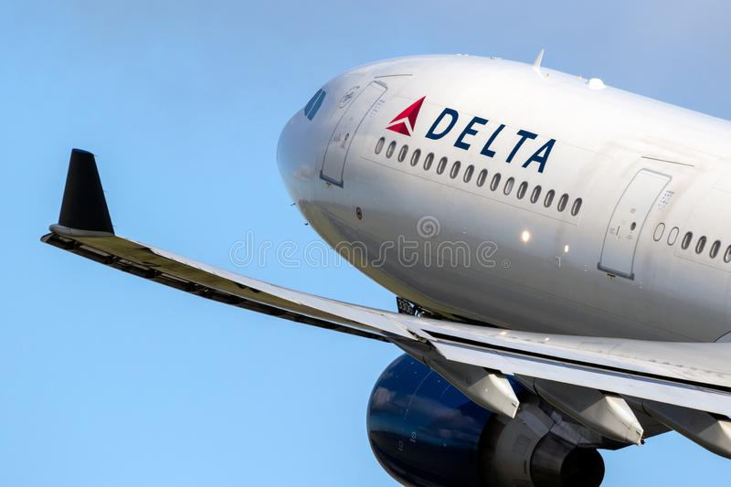 Delta Air Lines Airbus A330 passenger plane. AMSTERDAM, THE NETHERLANDS - JAN 9, 2019: Delta Air Lines Airbus A330 passenger plane taking off from Amsterdam royalty free stock photo