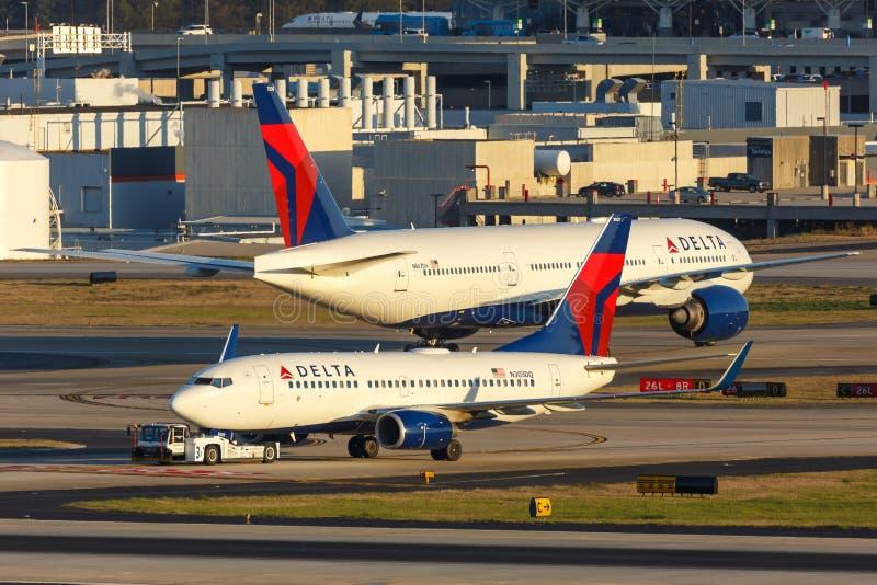 Delta Air Lines Boeing 737-700 airplane Atlanta airport. Atlanta, Georgia – April 2, 2019: Delta Air Lines Boeing 737-700 airplane at Atlanta Airport ATL stock images