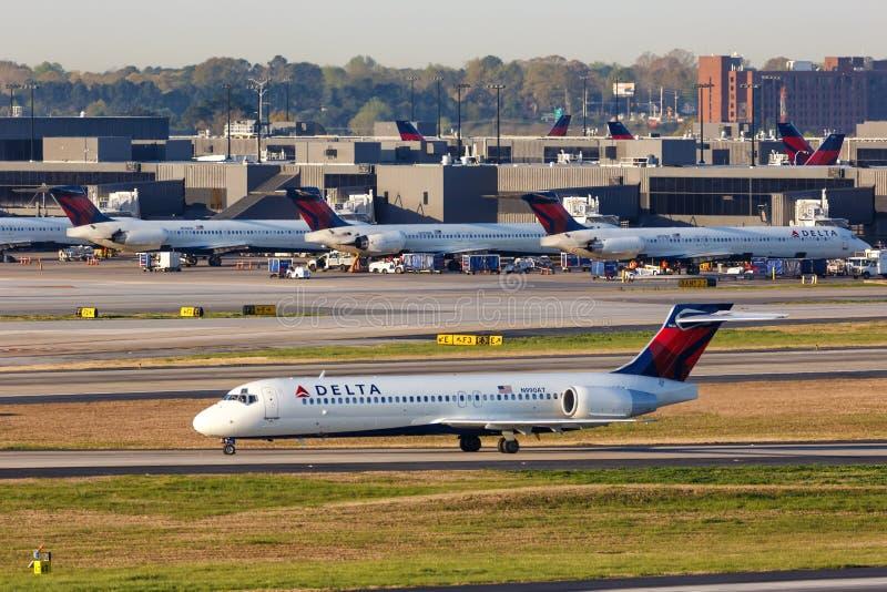 Delta Air Lines Boeing 717-200 airplane Atlanta airport. Atlanta, Georgia – April 3, 2019: Delta Air Lines Boeing 717-200 airplane at Atlanta Airport ATL stock photography