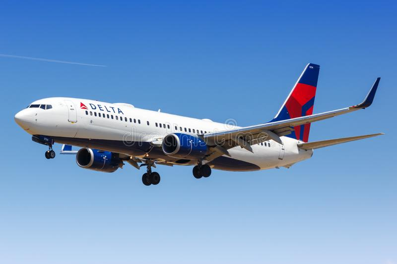 Delta Air Lines Boeing 737-800 airplane. Los Angeles, California – April 12, 2019: Delta Air Lines Boeing 737-800 airplane at Los Angeles airport LAX in stock photo