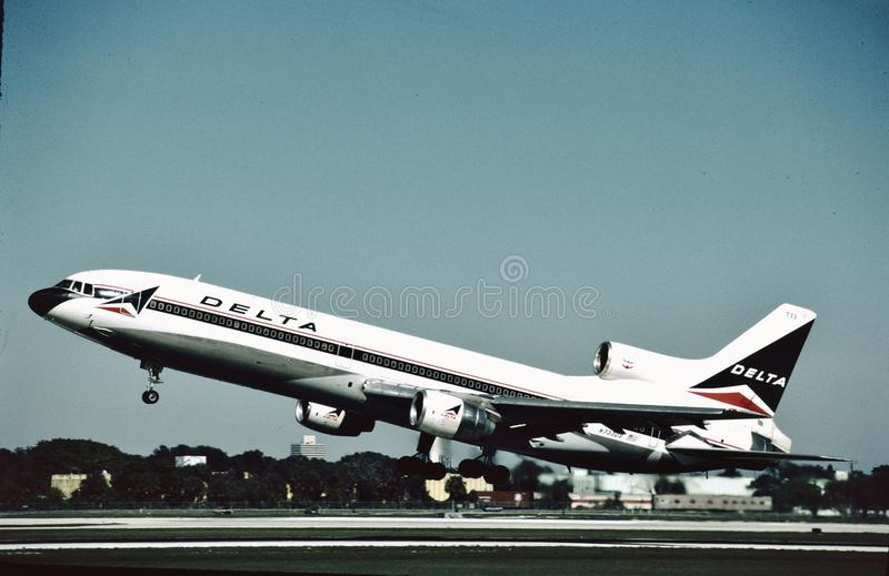 Delta Air Lines Lockheed L-1011 departs Fort Lauderdale , Fl on December 22, 1984. royalty free stock photography