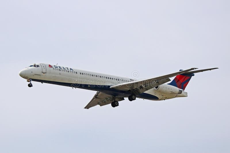 Delta Air Lines McDonnell Douglas MD-88 On Final Approach. A Delta Airlines McDonnell Douglas MD-88, photographed on final approach to Toronto Pearson royalty free stock photo