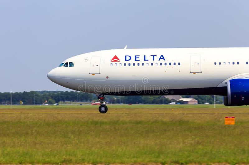 Delta Airbus A330 front section royalty free stock photo