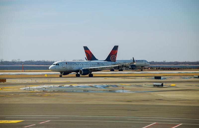 Delta airline jetliner aircraft up at apron waiting for departure at JFK international airport. FEB 14, 2019 JFK NEW YORK, USA: Delta airline jetliner aircraft royalty free stock photography