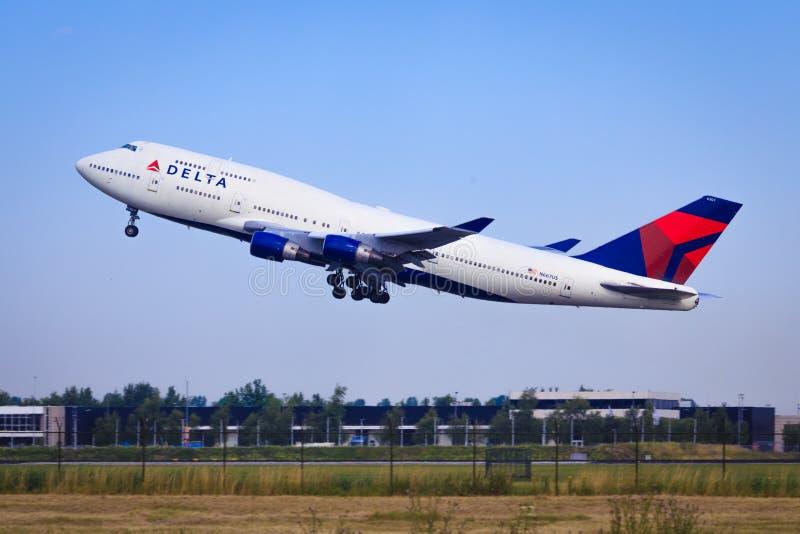 Delta Airlines Boeing 747 arkivbild