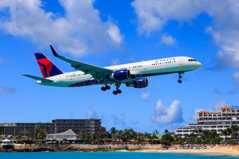 Delta Airlines at St.Maarten stock image