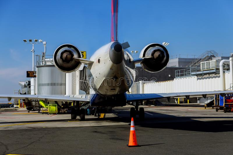 DELTA airplane sits grounded at a gate at JFK International Airport during. FEB 14, 2019 JFK NEW YORK, USA: DELTA airplane sits grounded at a gate at JFK stock image