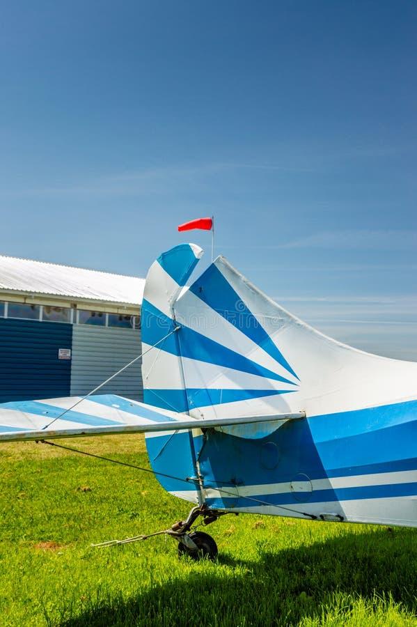 Delta, British Columbia - May 7, 2019: Side view of tail rudder and elevators of Aeronca Chief 11BC aircraft at airpark. stock photos