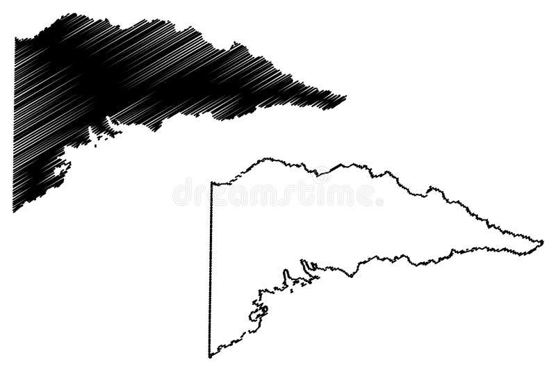 Delta County Texas Counties i Texas, Amerikas förenta stater, USA, U S , Klottrar illustrationen för USA-översiktsvektorn, skissa vektor illustrationer