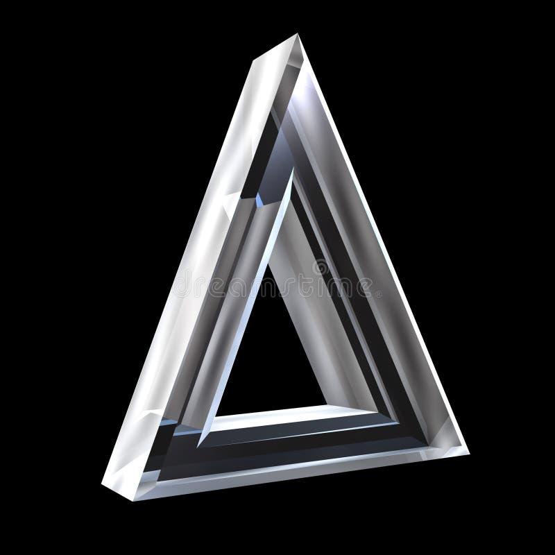 Delta symbool in (3d) glas stock illustratie