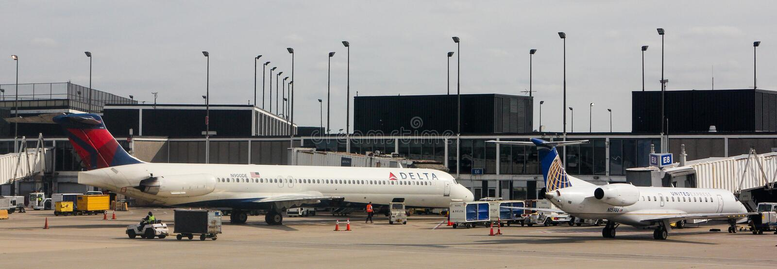 Delta Terminal at O'Hare Airport, Chicago, IL. stock images