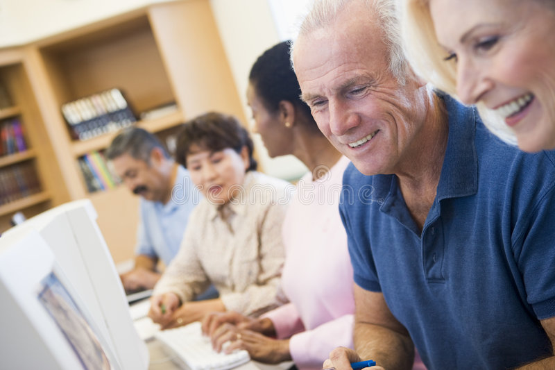 deltagare för expertis för lära för dator mogna royaltyfri bild