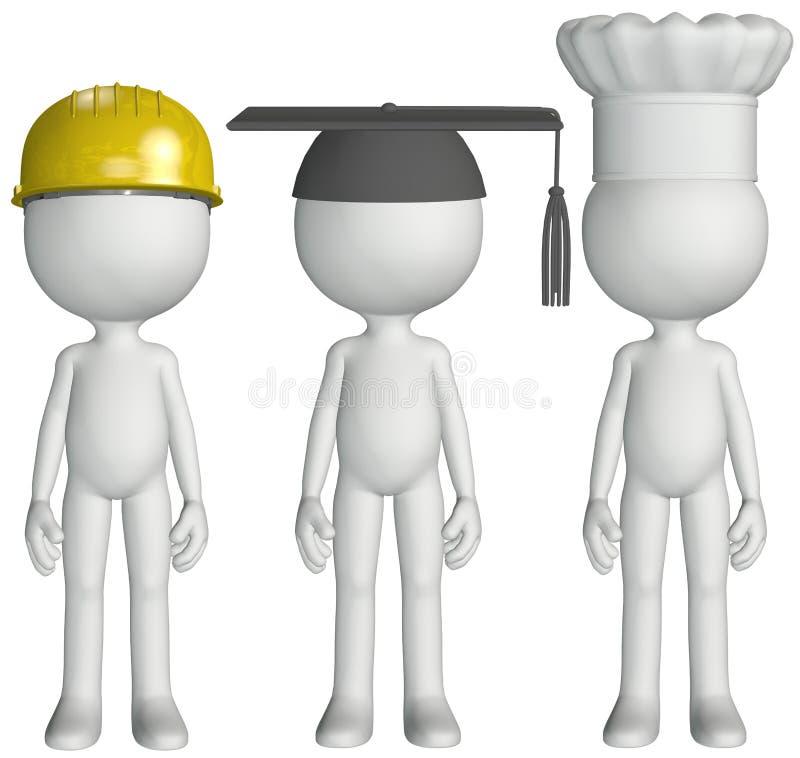 deltagare för ockupation för jobb för hattar för kockkonstruktion akademiker stock illustrationer