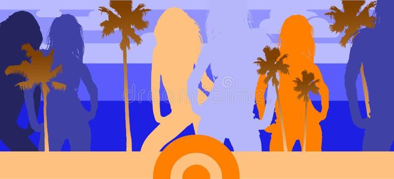 deltagare för stranddiskohav vektor illustrationer