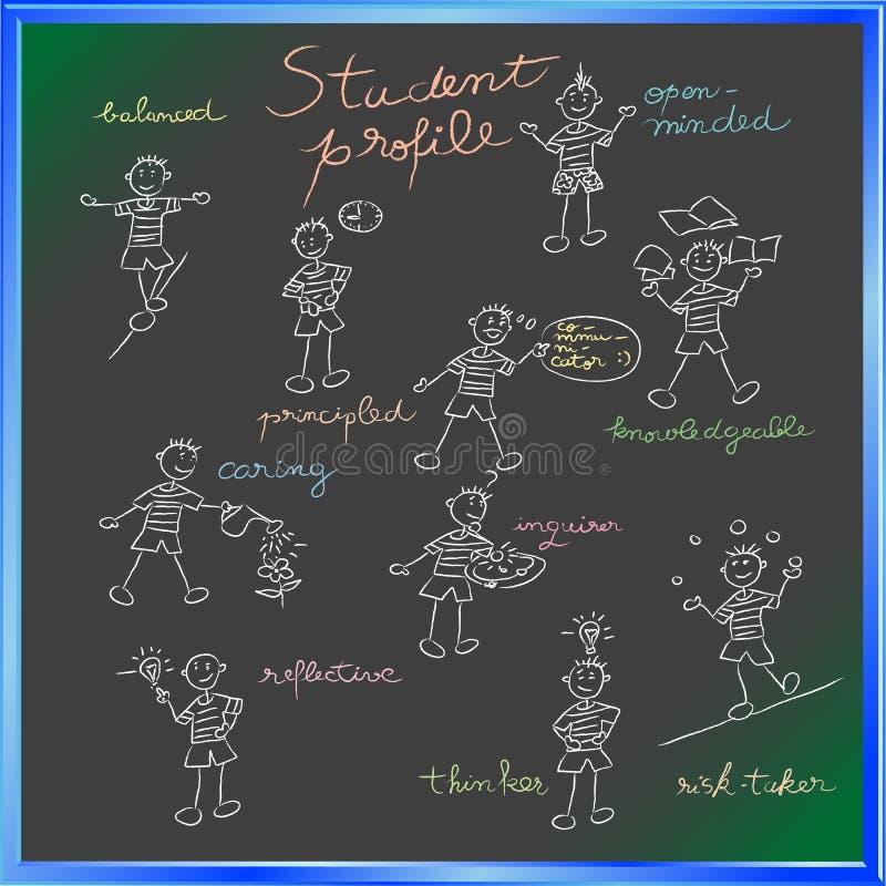 deltagare för blackboardprofilskola stock illustrationer