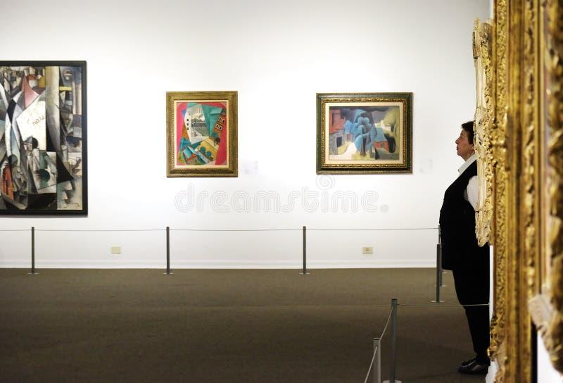 Deltagare på museet av konsterna royaltyfri foto