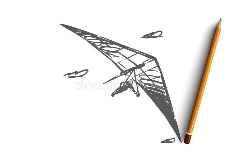 Deltavlieger, uiterste, hemel, sport, vliegconcept Hand getrokken geïsoleerde vector stock illustratie