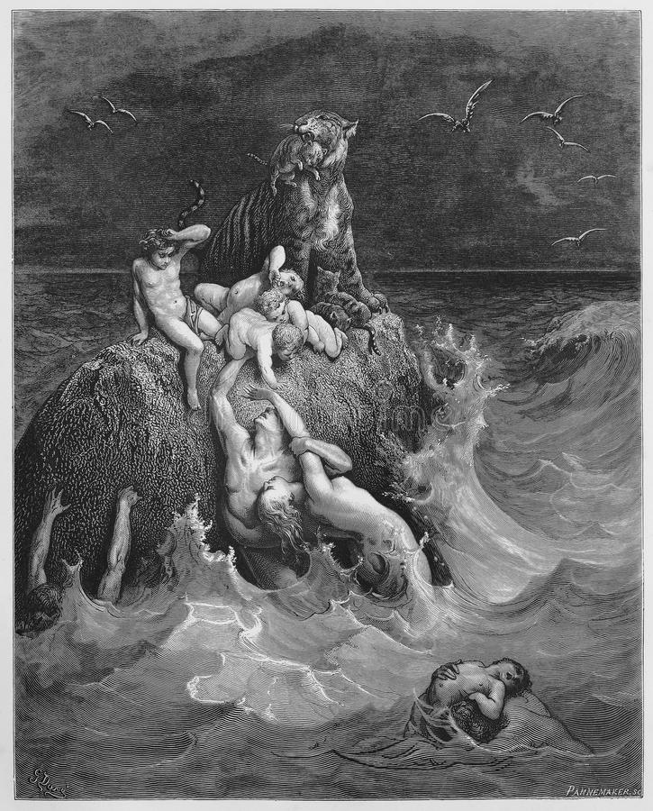 The Deluge. Picture from The Holy Scriptures, Old and New Testaments books collection published in 1885, Stuttgart-Germany. Drawings by Gustave Dore