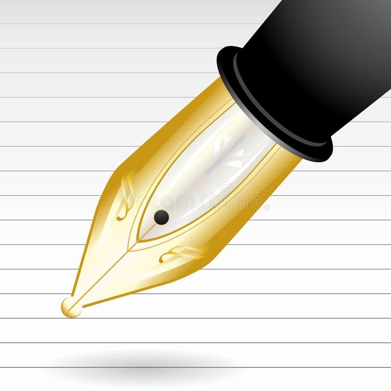 Deluxe fountain pen writing vector illustration
