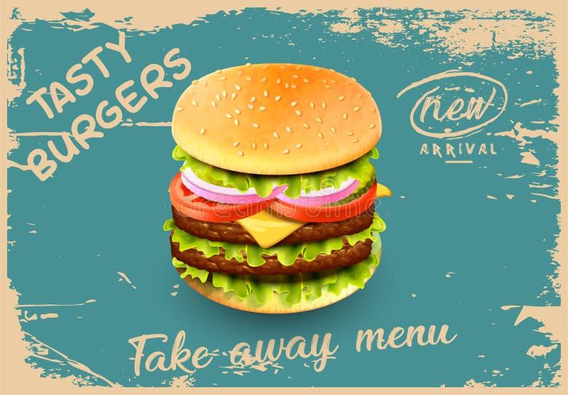 Deluxe king burger illustrazione 3d illustrazione di stock