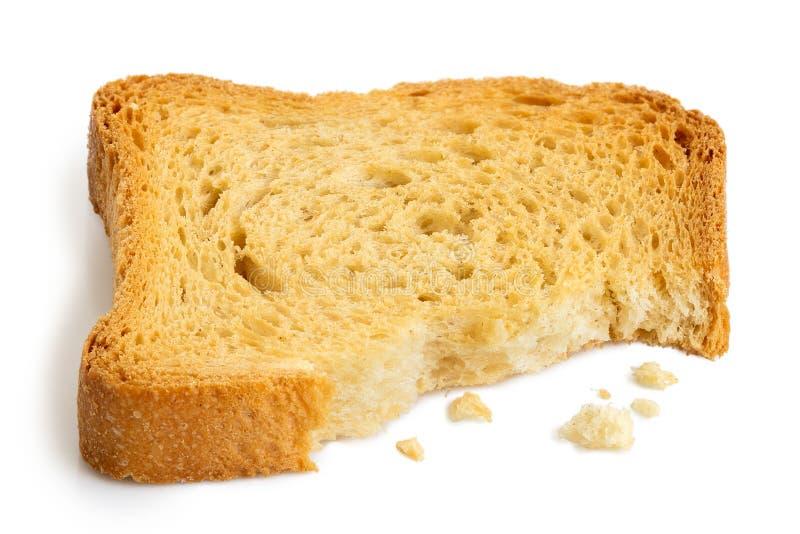 Delvist ätit vanligt melbarostat bröd som isoleras på vit royaltyfria bilder