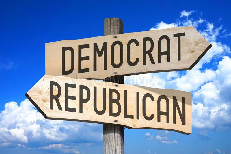 Demócrata, republicano - poste indicador de madera stock de ilustración