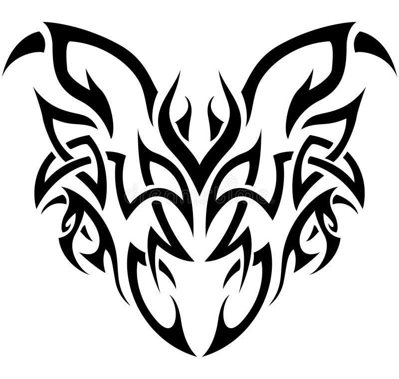 Demónio tribal em preto e branco