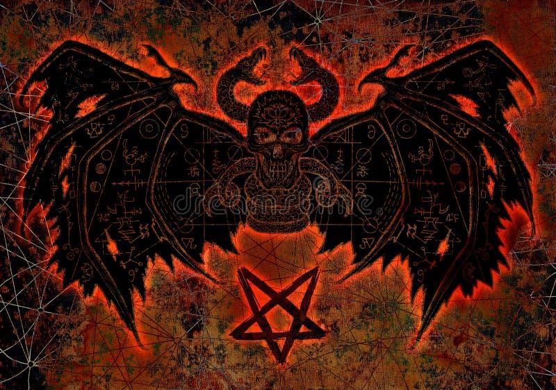 Demônio do diabo com silhueta ensanguentado e pentagram no fundo da textura ilustração royalty free