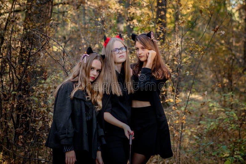 Demônio, maníaco e bruxa de Dia das Bruxas nas madeiras foto de stock royalty free