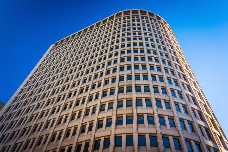 dem Brandywine-Gebäude in im Stadtzentrum gelegenem Wilmington oben betrachten, De stockfoto