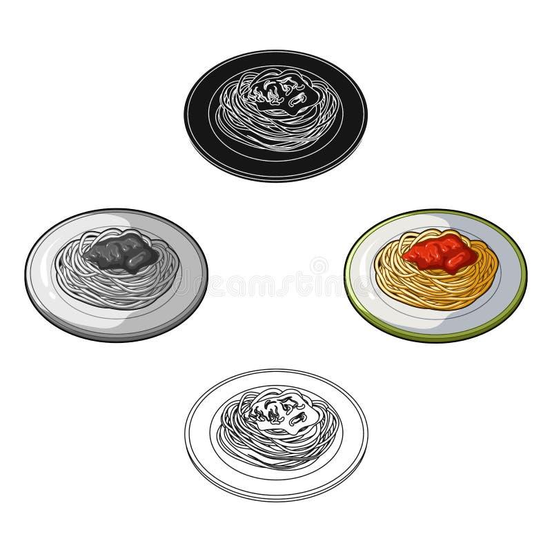 In dem der Teller Weizenspaghettis mit roter So?e Hauptgerichtvegetarier Einzelne Ikone der Vegetarier-Teller in der Karikatur, s vektor abbildung