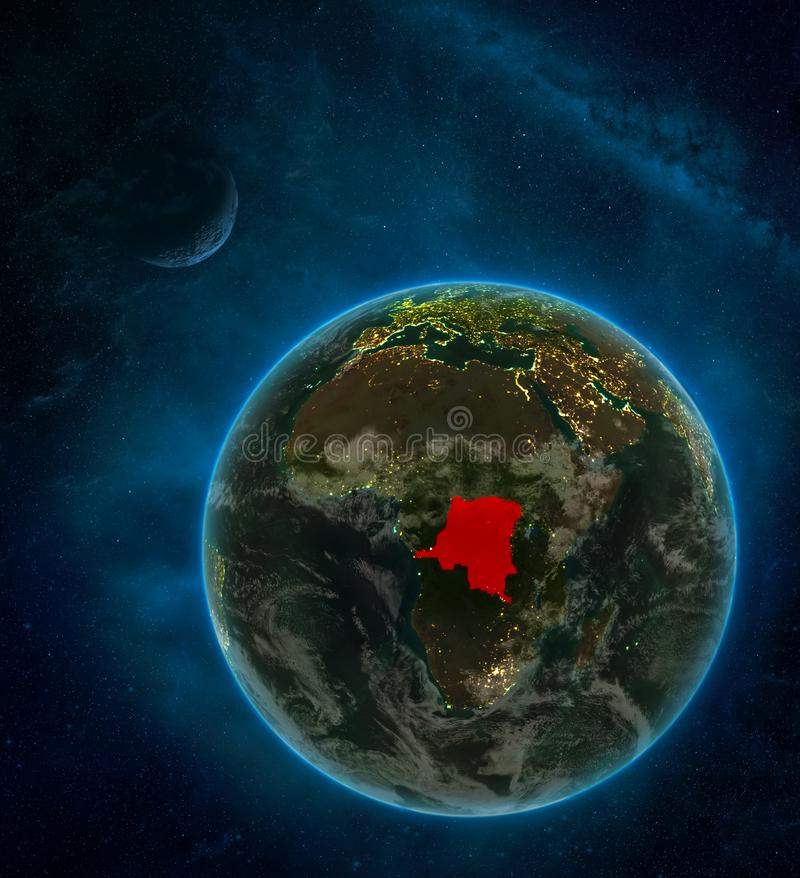 Dem Rep of Congo from space on Earth at night surrounded by space with Moon and Milky Way. Detailed planet with city lights and. Clouds. 3D illustration royalty free illustration