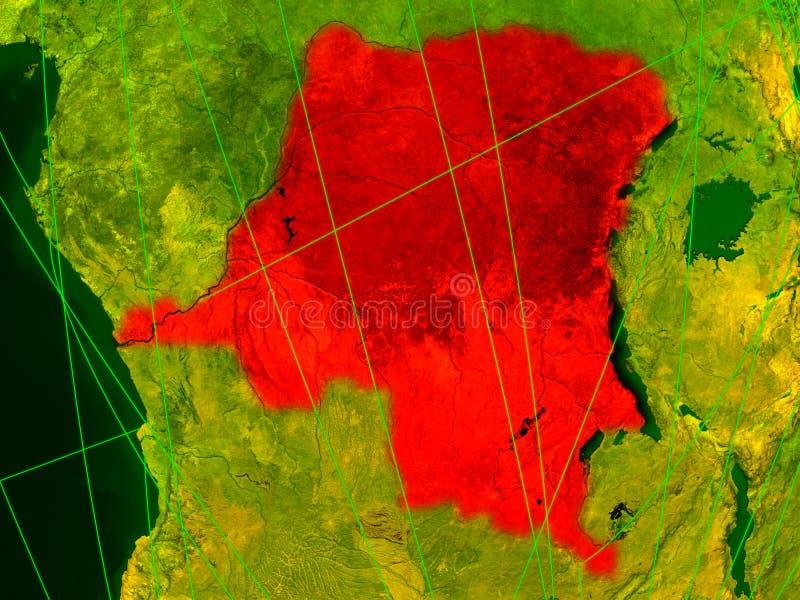 DEM-Rep van de Kongo op digitale kaart vector illustratie