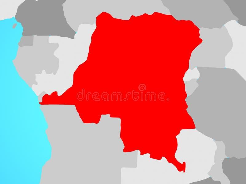Dem-tekniker av Kongofloden på översikt royaltyfri illustrationer