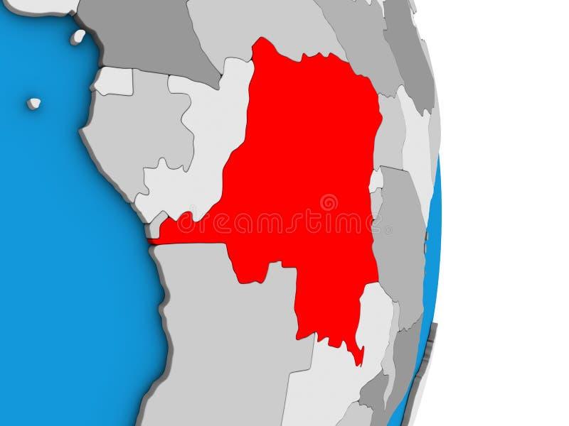 Dem-tekniker av Kongofloden på jordklotet 3D stock illustrationer