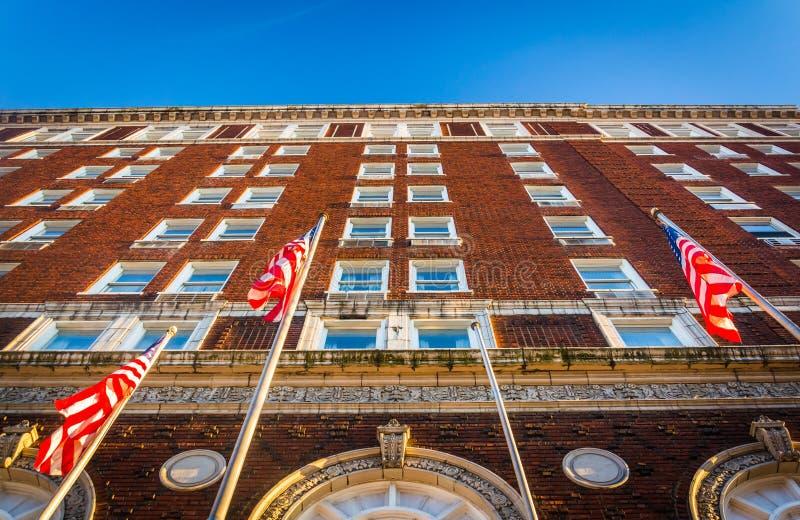 dem Yorktowne-Hotel in im Stadtzentrum gelegenem York oben betrachten, Pennsylvania lizenzfreie stockfotografie