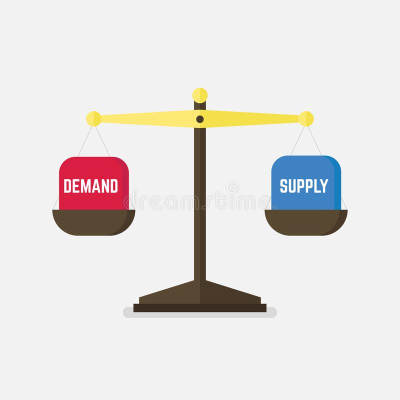 Demand and Supply balance on the scale. Business Concept. Vector stock illustration