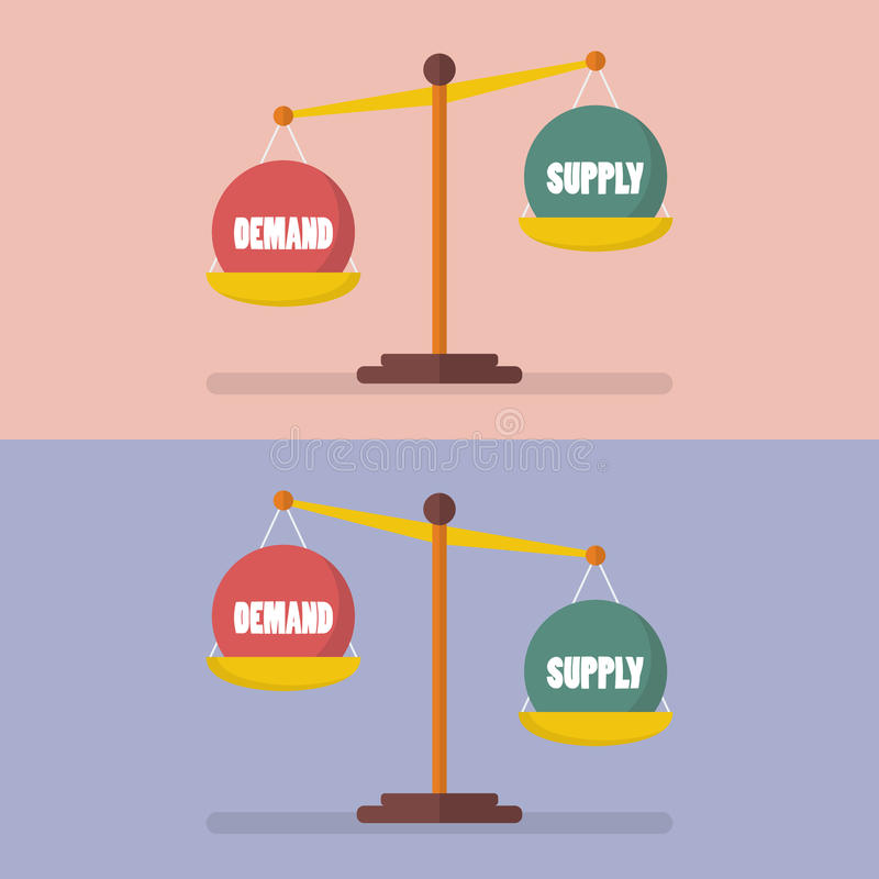 Demand and supply balance on the scale. Economic Concept stock illustration