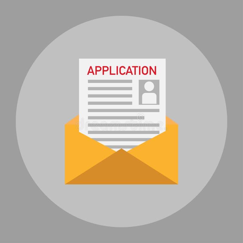 demande de cv reçue par l'intermédiaire de la conception plate de courrier illustration de vecteur