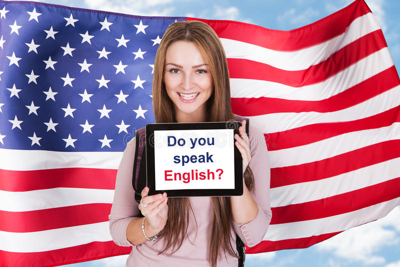Demander américain de femme vous parlez anglais images stock