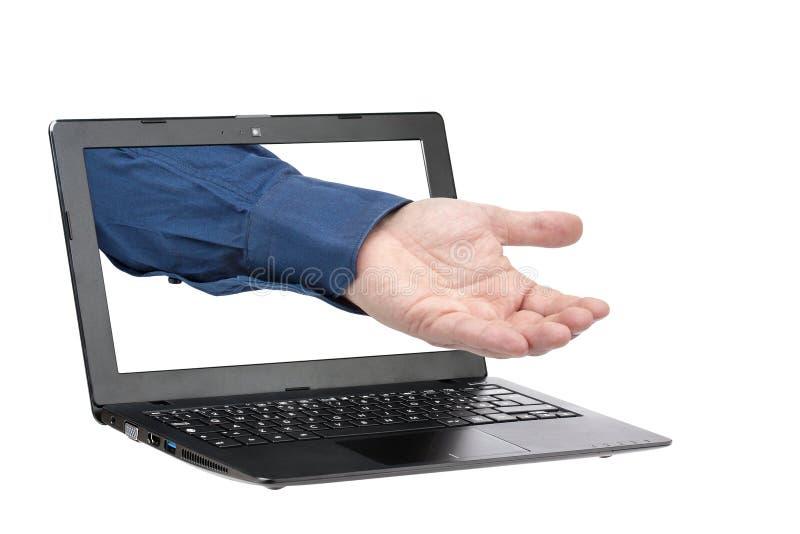 Demander donnant l'homme d'affaires Laptop Isolated de main photo libre de droits