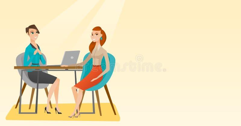 Demandeur de travail ayant l'entrevue pour la position illustration stock
