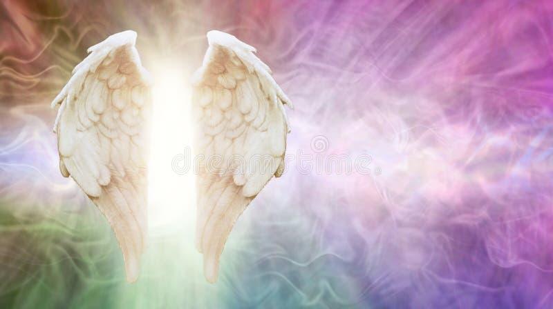 Demandez votre fond de message d'anges images libres de droits