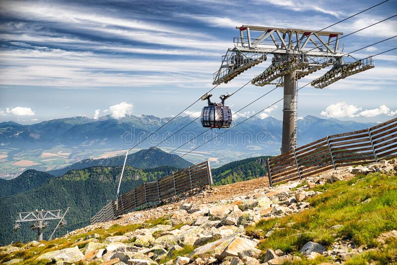 Ropeway Funitel in Low Tatras mountains, Slovakia. DEMANOVSKA DOLINA, SLOVAKIA - JUN 20: Ropeway Funitel in Low Tatras mountains on Jun 2, 2016 in Demanovska stock images