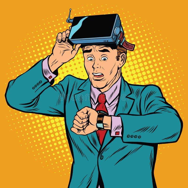 Demasiada hora na realidade virtual ilustração royalty free