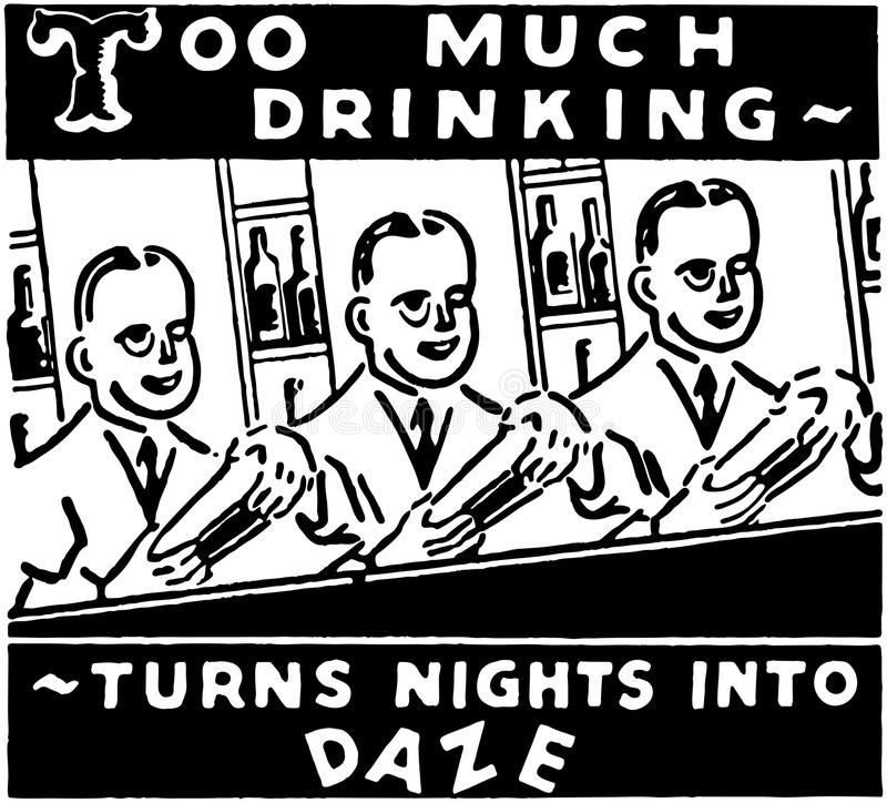Demasiado bebendo ilustração royalty free