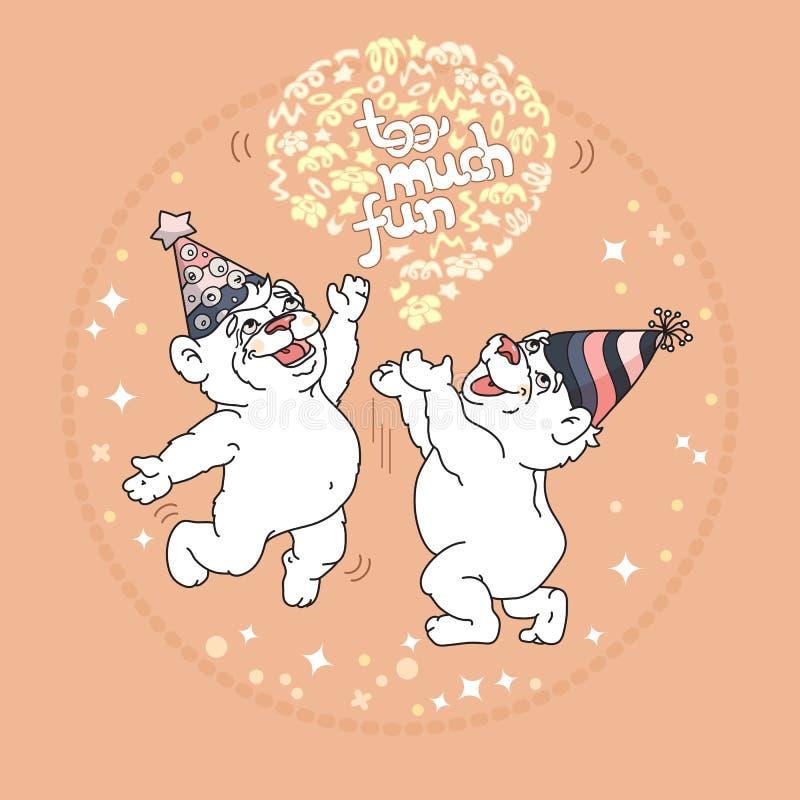 Demasiado cartão do divertimento com os dois ursos bonitos ilustração do vetor