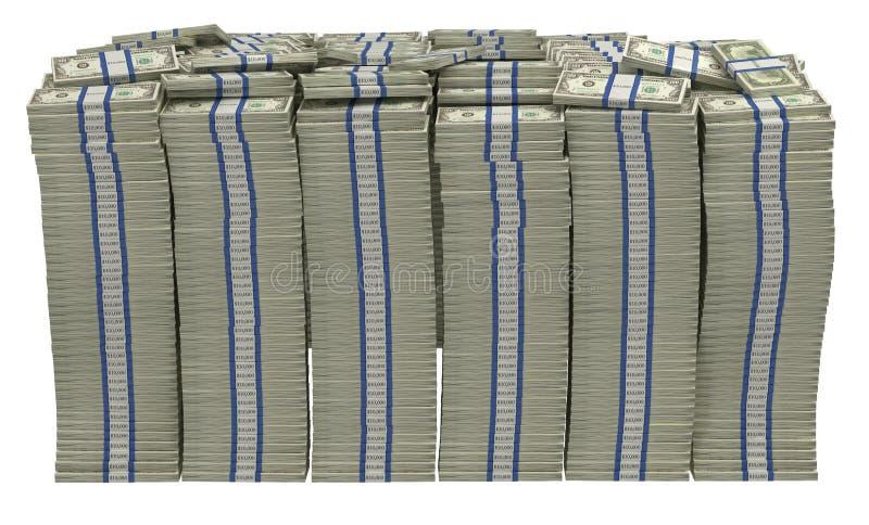 Demasiado dinero. Pila enorme dólar americano stock de ilustración